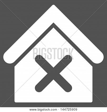 Wrong House icon. Glyph style is flat iconic symbol, white color, gray background.