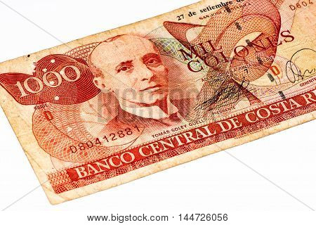 1000 Costa Rican colones bank note. Colones is the national currency of Costa Rica