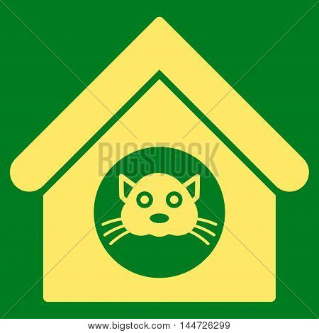 Cat House icon. Glyph style is flat iconic symbol, yellow color, green background.