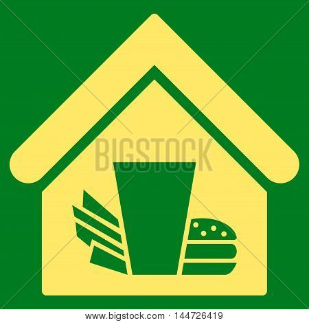 Fastfood Cafe icon. Glyph style is flat iconic symbol, yellow color, green background.