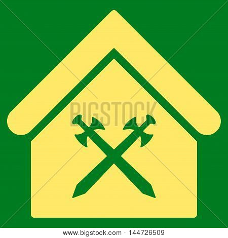 Guard Office icon. Glyph style is flat iconic symbol, yellow color, green background.