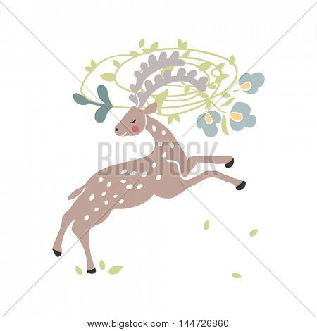 deer with floral wreath in his horns
