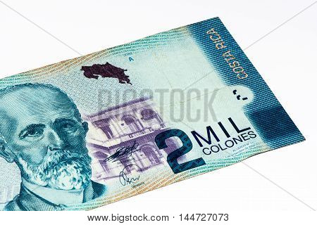 2000 Costa Rican colones bank note. Colones is the national currency of Costa Rica