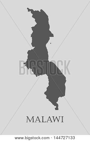 Gray Malawi map on light grey background. Gray Malawi map - vector illustration.