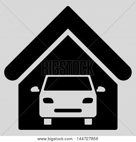 Car Garage icon. Glyph style is flat iconic symbol, black color, light gray background.