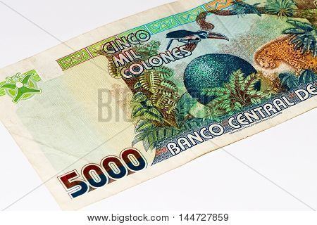 5000 Costa Rican colones bank note. Colones is the national currency of Costa Rica