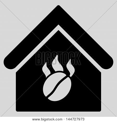 Coffee Shop icon. Glyph style is flat iconic symbol, black color, light gray background.