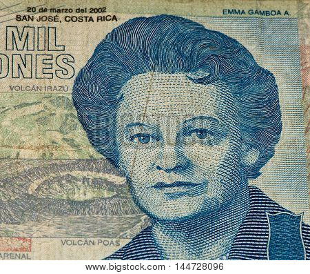 10000 Costa Rican colones bank note. Colones is the national currency of Costa Rica