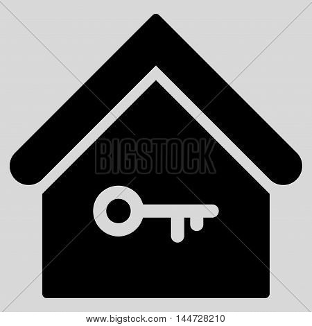 Home Key icon. Glyph style is flat iconic symbol, black color, light gray background.