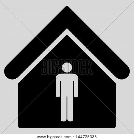 Man Toilet Building icon. Glyph style is flat iconic symbol, black color, light gray background.