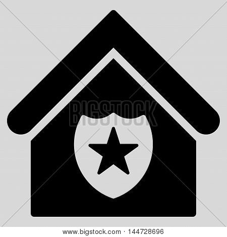 Realty Protection icon. Glyph style is flat iconic symbol, black color, light gray background.