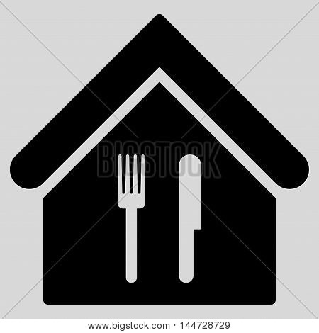 Restaurant icon. Glyph style is flat iconic symbol, black color, light gray background.