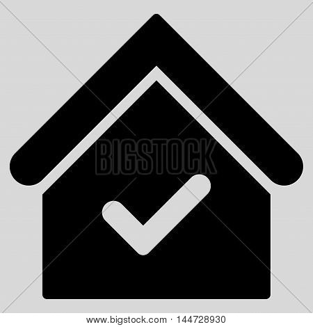 Valid House icon. Glyph style is flat iconic symbol, black color, light gray background.