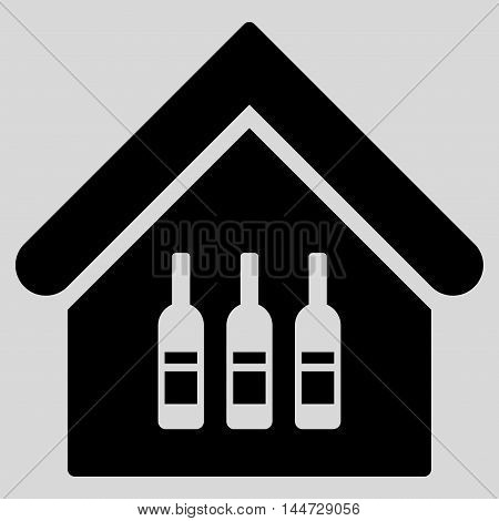 Wine Bar icon. Glyph style is flat iconic symbol, black color, light gray background.