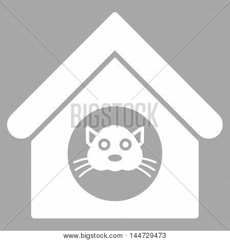 Cat House icon. Glyph style is flat iconic symbol, white color, silver background.