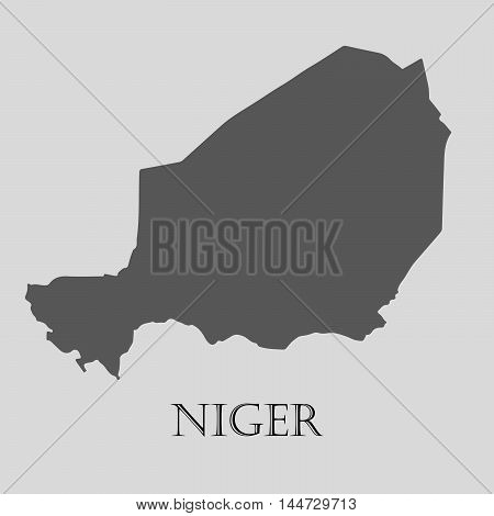 Gray Niger map on light grey background. Gray Niger map - vector illustration.