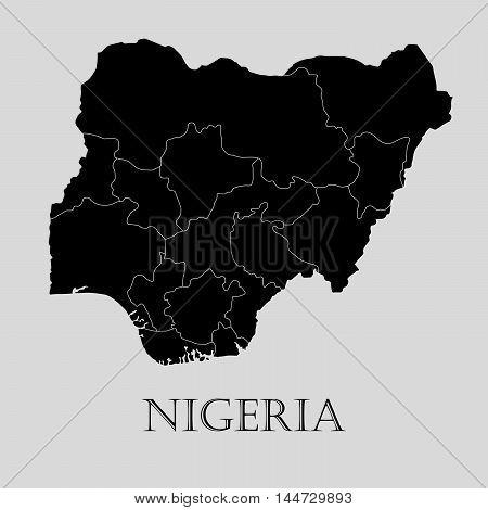 Black Nigeria map on light grey background. Black Nigeria map - vector illustration.