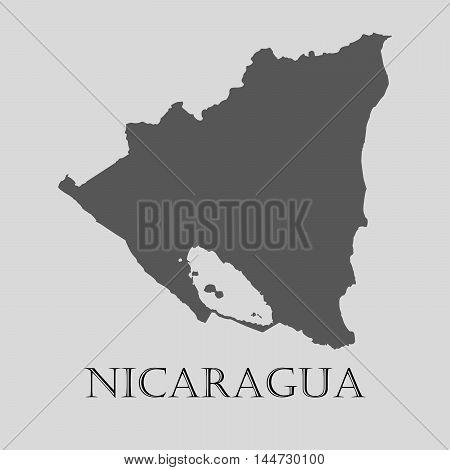 Gray Nicaragua map on light grey background. Gray Nicaragua map - vector illustration.