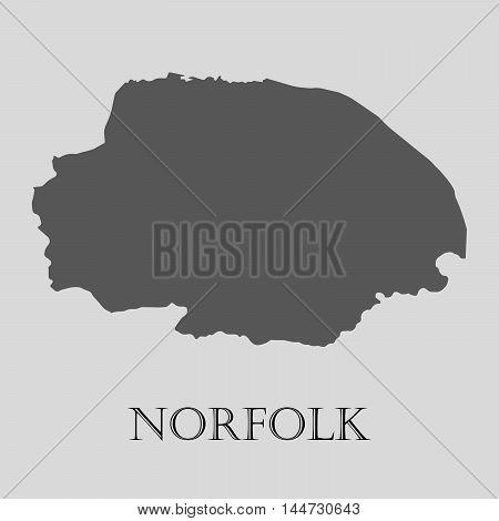 Gray Norfolk map on light grey background. Gray Norfolk map - vector illustration.