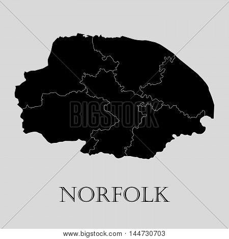Black Norfolk map on light grey background. Black Norfolk map - vector illustration.