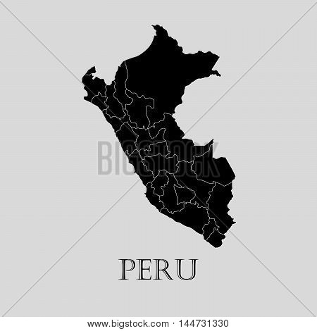 Black Peru map on light grey background. Black Peru map - vector illustration.