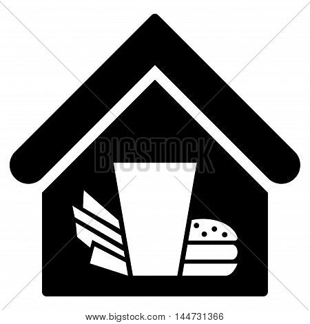 Fastfood Cafe icon. Glyph style is flat iconic symbol, black color, white background.