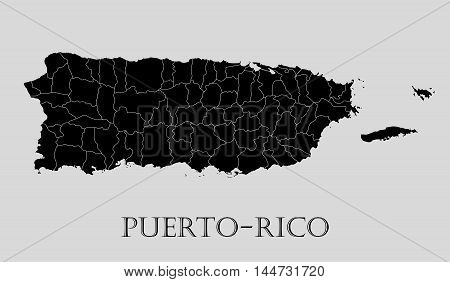 Black Puerto-Rico map on light grey background. Black Puerto-Rico map - vector illustration.