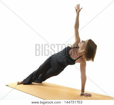 Yoga Asana excercise in front of white background