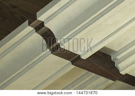 Decorative cornice fragment - macro, close-up, concrete, decor, decorative, interior