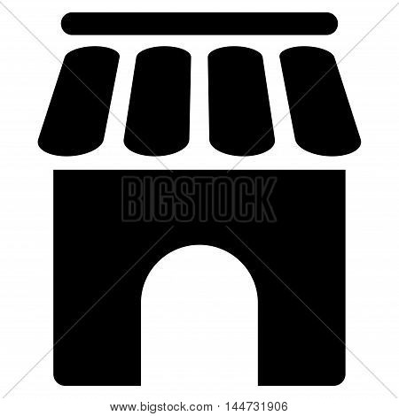 Shop Building icon. Glyph style is flat iconic symbol, black color, white background.