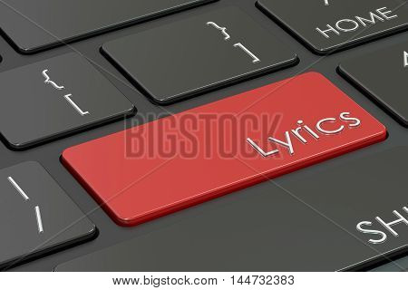 Lyrics red key on keyboard. 3D rendering