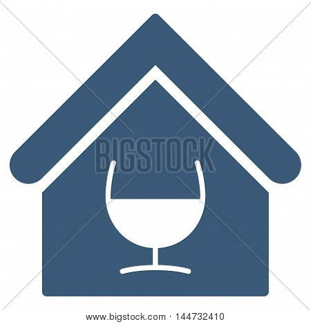 Alcohol Bar icon. Glyph style is flat iconic symbol, blue color, white background.