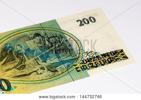200 Brasilian cruzeiro bank note. Cruzeiro is the former currency of Brasil