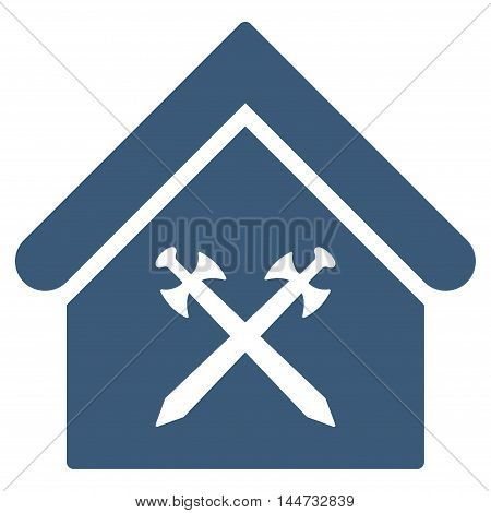 Guard Office icon. Glyph style is flat iconic symbol, blue color, white background.