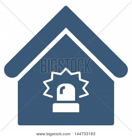 Realty Alarm icon. Glyph style is flat iconic symbol, blue color, white background.