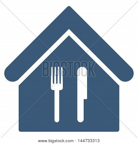 Restaurant icon. Glyph style is flat iconic symbol, blue color, white background.