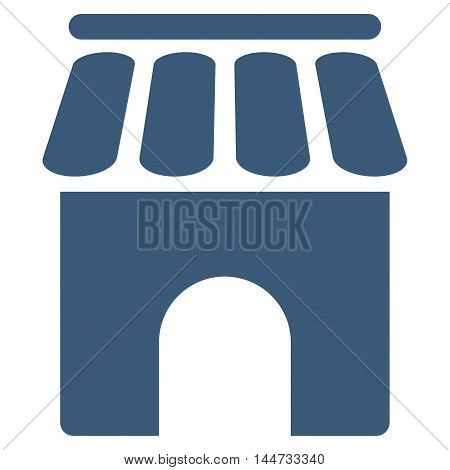 Shop Building icon. Glyph style is flat iconic symbol, blue color, white background.