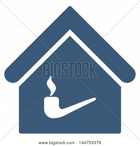 Smoking Room icon. Glyph style is flat iconic symbol, blue color, white background.