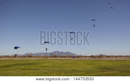 Compilation of Skydiver approaching for landing on daytime
