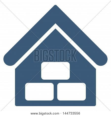 Warehouse icon. Glyph style is flat iconic symbol, blue color, white background.
