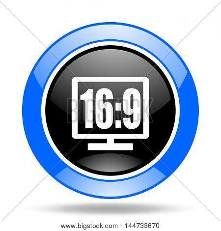 16 9 display round glossy blue and black web icon