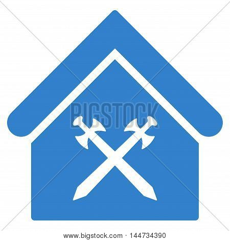 Guard Office icon. Glyph style is flat iconic symbol, cobalt color, white background.