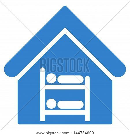 Hostel icon. Glyph style is flat iconic symbol, cobalt color, white background.