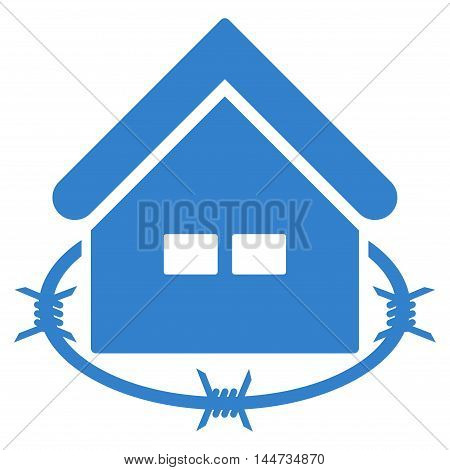 Prison Building icon. Glyph style is flat iconic symbol, cobalt color, white background.