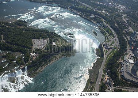 Aerial Niagara Falls in Canada at daytime