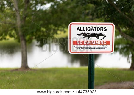Alligator warning sign in Florida for awareness of imminent danger. Sharp focus isolated to sign for dramatic impact.