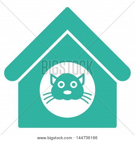 Cat House icon. Glyph style is flat iconic symbol, cyan color, white background.