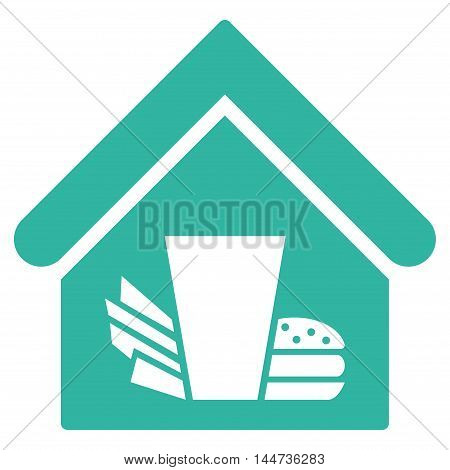 Fastfood Cafe icon. Glyph style is flat iconic symbol, cyan color, white background.