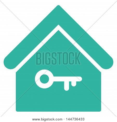 Home Key icon. Glyph style is flat iconic symbol, cyan color, white background.