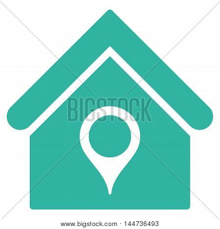 House Location icon. Glyph style is flat iconic symbol, cyan color, white background.
